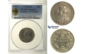 R115, Canada, George V, 25 Cents 1912, Silver, PCGS AU Details