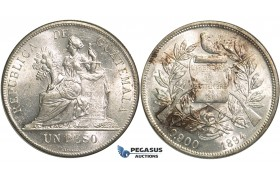 R12, Guatemala, Peso 1894, Silver, Mint State (Few hairlines)
