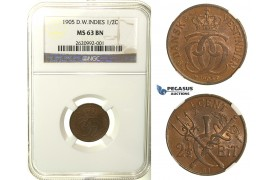R123, Danish West Indies, Christian IX, 1/2 Cent/2 1/2 Bit 1905, NGC MS63BN