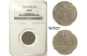 R124, Poland, Danzig, 10 Pfennige 1923, NGC AU55