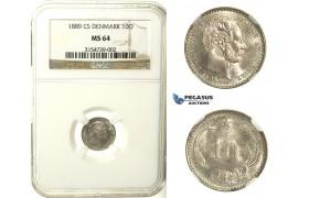 R127, Denmark, Christian IX, 10 Øre 1889-CS, Copenhagen, Silver, NGC MS64