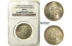 R128, Denmark, Christian IX, 2 Kroner 1888 (25th Ann. of Reign) Silver, Copenhagen, NGC MS65