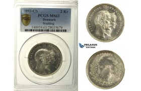 R129, Denmark, Christian IX, 2 Kroner 1892 (Golden Wedding) Silver, Copenhagen, PCGS MS63