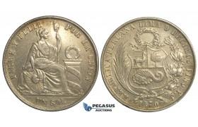 R13, Peru, Sol 1870-YJ, Silver, Nice toning!