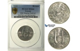 R137, Estonia, 1 Kroon 1933 (10th Singing Festival) Silver, PCGS MS64