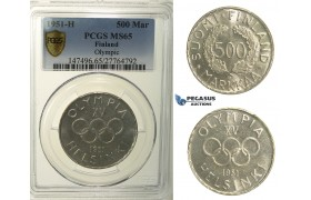R138, Finland, 500 Markkaa 1951-H (Olympic Games) Helsinki, Silver, PCGS MS65, Rare!
