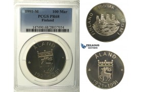 R139, Finland, 100 Markaa 1991-M (Åland) Silver, PCGS PR68, Very Rare, only 700 minted!