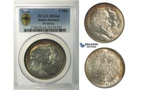 R141, Germany, Baden-Durlach, 5 Mark 1906 (Wedding) Silver, PCGS MS64