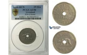 "R144, Greenland, ""Holed"" 25 Øre 1926-HCN, PCGS AU50, Rare!"