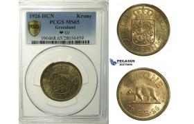 R146, Greenland, 1 Krone 1926-HCN, PCGS MS65