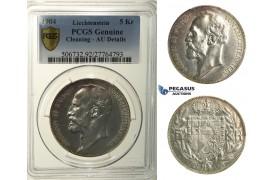 R149, Liechtenstein, Johann II, 5 Kronen 1904, Vienna, Silver, PCGS AU Details