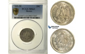 R150, Mexico, Cap and Rays 20 Centavos 1905-M, Mexico City, Silver, PCGS MS63