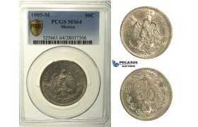 R151, Mexico, Cap and Rays 50 Centavos 1905-M, Mexico City, Silver, PCGS MS64