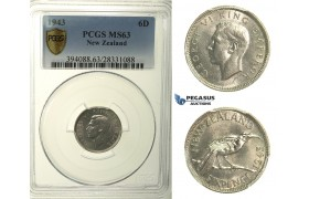 R153, New Zealand, George VI, Sixpence 1943, Silver, PCGS MS63