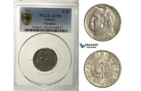 R158, Poland, 2 Zlote 1934, Silver, PCGS AU50