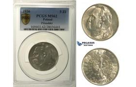 R159, Poland, 5 Zlotych 1936, Silver, PCGS MS62