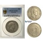 R162, Sarawak, C.V. Brooke Rajah, 50 Cents 1927-H, Heaton, Silver, PCGS AU50
