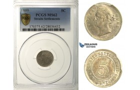 R163, Straits Settlements, Victoria, 5 Cents 1899, Silver, PCGS MS62