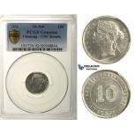 R164, Straits Settlements, Victoria, 10 Cents 1896, Silver, PCGS UNC Details