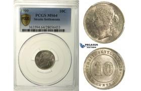 R165, Straits Settlements, Victoria, 10 Cents 1900, Silver, PCGS MS64