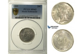 R166, Straits Settlements, Victoria, 20 Cents 1885, Silver, PCGS MS62, Rare!