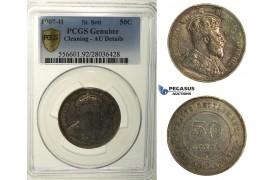 R168, Straits Settlements, Edward VII, 50 Cents 1907-H, Heaton, Silver, PCGS AU Details