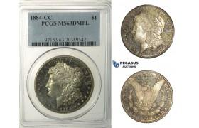R171, United States, Morgan Dollar 1884-CC, Carson City, Silver, PCGS MS63DMPL