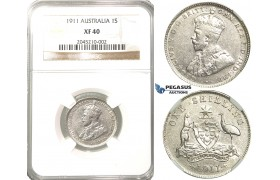 R202, Australia, George V, Shilling 1911, Silver, NGC XF40