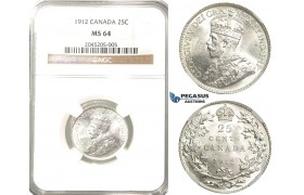 R204, Canada, George V, 25 Cents 1912, Silver, NGC MS64 Rare!