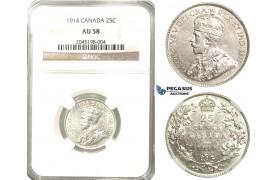 R205, Canada, George V, 25 Cents 1914, Silver, NGC AU58