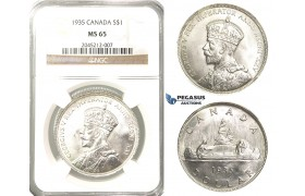 R206, Canada, George V, Dollar 1935, Silver, NGC MS65 Fully frosted!