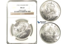 R207, Canada, George V, Dollar 1936, Silver, NGC MS63 Fully frosted!