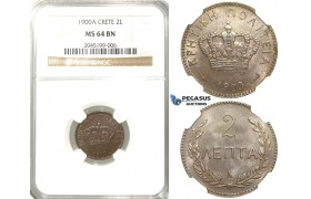 R212, Crete, Prince George, 2 Lepta 1900-A, Paris, NGC MS64BN