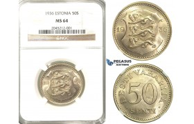 R214, Estonia, 50 Senti 1936, NGC MS64