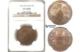 R215, Finland (under Russia) Alexander II, 10 Penniä 1866, NGC AU58BN