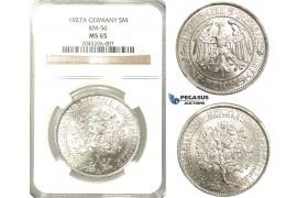 R216, Germany, Weimar, Oak Tree 5 Reichsmark 1927-A, Berlin, Silver, NGC MS65