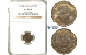 R220, Greece, George I, Lepton 1869-BB, Strasbourg, NGC MS64BN