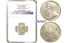 R227, South Africa (ZAR) Sixpence 1893, Silver, NGC AU Details, Rare!