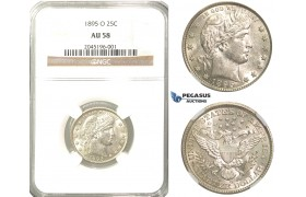 R232, United States, Barber Quarter (25C.) 1895-O, New Orleans, Silver, NGC AU58