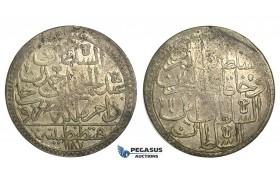 R24, Ottoman Empire, Turkey, Abdül Hamid I, 2 Zolota AH1187/11, Qustantiniya, Dark Toning!