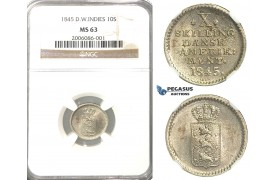 R303, Danish West Indies, Christian VIII, 10 Skilling 1845, Silver, NGC MS63