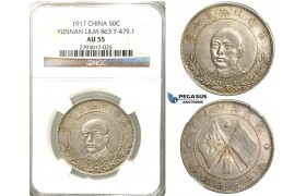 R306, China, Yunnan, 50 Cents 1917, Silver, L&M 863, Y 479.1, NGC AU55