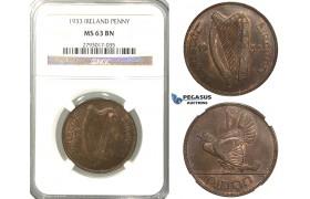R308, Ireland, Penny 1933, NGC MS63BN