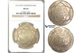 R309, Morocco, Abd al-Hafiz, Rial AH1329, Paris, Silver, NGC MS64