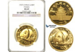 "R31, China, ""Panda"" 100 Yuan 1987S, Gold (1 oz.) NGC MS69"