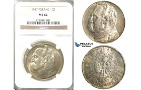 R310, Poland, 10 Zlotych 1937, Silver, NGC MS62