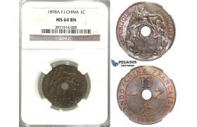 R316, French Indo-China, 1 Centime 1898-A, Paris, NGC MS64BN