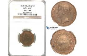 R319, Straits Settlements, Victoria, 1/2 Cent 1845 (WW) NGC AU53BN
