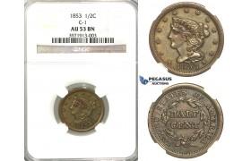"R320, United States, ""Braided Hair"" Half Cent 1853, NGC AU53BN"