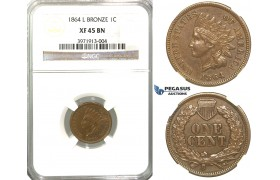 "R321, United States, ""Indian Head"" Cent 1864 L, NGC XF45BN"